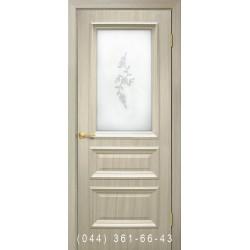 Двери Сан Марко 1.2 ПВХ дуб беленый со стеклом (матовое) + рис.