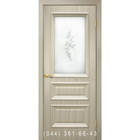 Двері Сан Марко 1.2 ПВХ дуб білений зі склом (матове) + рис.