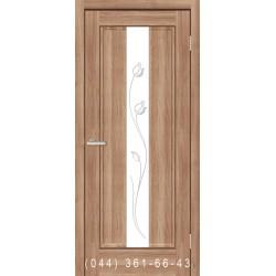 Двері Тіффані ПВХ дуб золотий зі склом (матове) + рис.