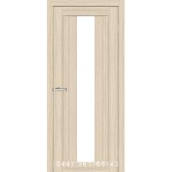 Двери Троя ПВХ дуб беленый со стеклом (сатин матовый)