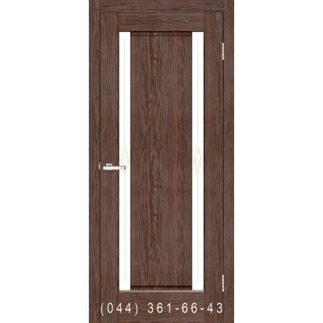 Двері Венера ПВХ каштан зі склом (сатин матовий)