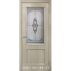 Двери Версаль ПВХ дуб беленый со стеклом (матовое) + фото