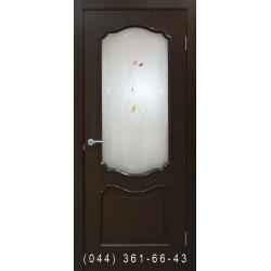 Двери Прованс ПВХ каштан со стеклом (сатин матовый)