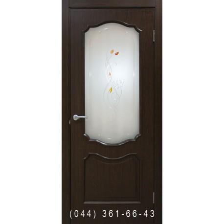 Двері Прованс ПВХ каштан зі склом (сатин матовий)