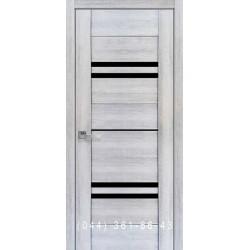 Двери Мерида Новый Стиль бук кашемир с черным стеклом