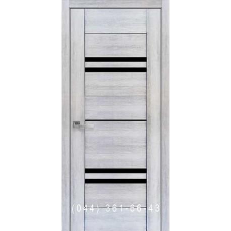 Двері Меріда Новий Стиль бук кашемір з чорним склом