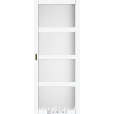 Двері Корфад BELLA BL-01 белый перламутр з матовим склом