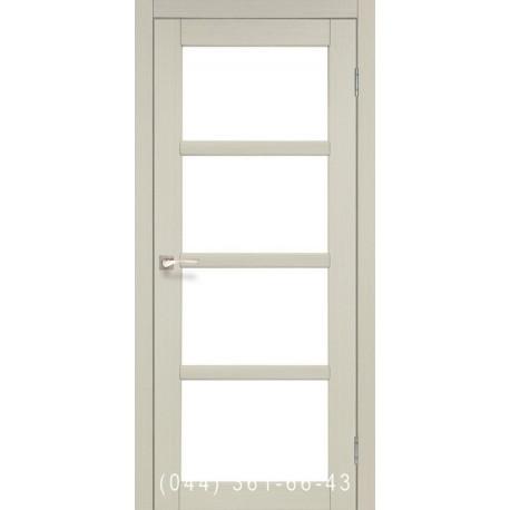 Двері КОРФАД APRICA АР-02 дуб білений зі склом (сатин матовий)