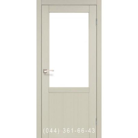 Двері КОРФАД PALERMO PL-02 дуб білений зі склом (сатин матовий)