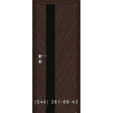 Двери шпон диагональ со вставкой черного стекла Fusion F-45