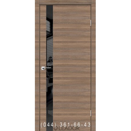 Двері Asti Glass Leador сіре дерево глухе + вставка чорне скло