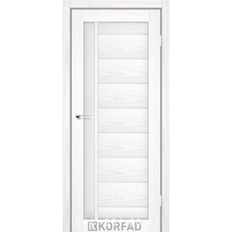 Двери FLORENCE FL-01 Корфад белая лиственница со стеклом (сатин матовый)