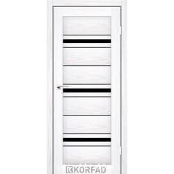 Двері FLORENCE FL-02 Корфад біла модрина зі склом (чорне)