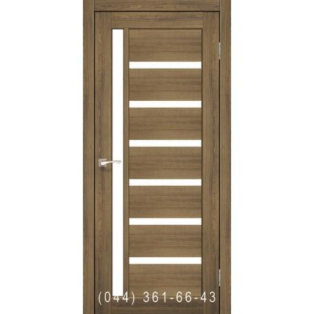 Двері КОРФАД VALENTINO VL-01 дуб браш зі склом (сатин матовий)