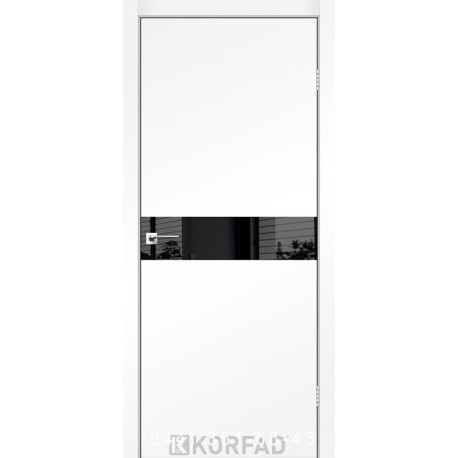 Двері GLASS LOFT PLATO GLP-01 Super PET аляска глухе + вставка (Lacobel чорний)