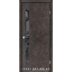 Двери GLASS LOFT PLATO GLP-02 лофт бетон глухое + вставка зеркало (графит)