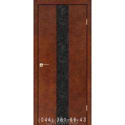 Двери GLASS LOFT PLATO GLP-03 сталь кортен глухое + вставка (CPL черный)