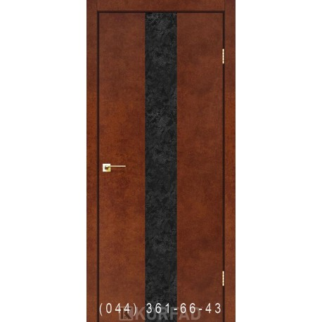 Двері GLASS LOFT PLATO GLP-03 сталь Корте глухе + вставка (CPL чорний)
