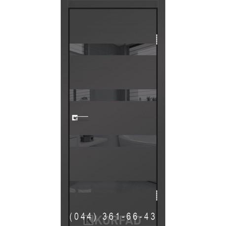 Двері GLASS LOFT PLATO GLP-04 Super PET антрацит глухе + вставка дзеркало (графіт)
