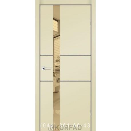 Двери GLASS LOFT PLATO GLP-06 Super PET магнолия глухое + вставка зеркало (бронза)