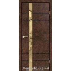 Двери GLASS LOFT PLATO GLP-07 арт бетон глухое + вставка зеркало (бронза)