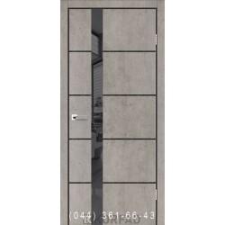 Двери GLASS LOFT PLATO GLP-08 лайт бетон глухое + вставка зеркало (графит)