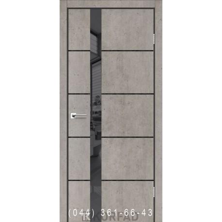 Двері GLASS LOFT PLATO GLP-08 лайт бетон глухе + вставка дзеркало (графіт)