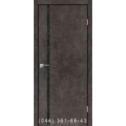 Двери GLASS LOFT PLATO GLP-09 лофт бетон глухое + вставка (CPL черный)