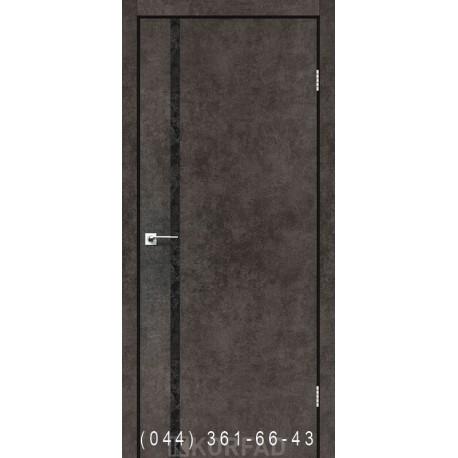 Двері GLASS LOFT PLATO GLP-09 лофт бетон глухе + вставка (CPL чорний)
