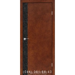 Двери GLASS LOFT PLATO GLP-10 сталь кортен глухое + вставка (CPL черный)