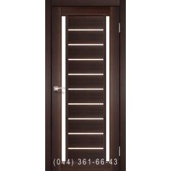Двери КОРФАД VALENTINO VL-03 орех со стеклом (сатин матовый)