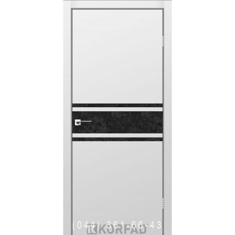 Двери GLASS LOFT PLATO GLP-11 Super PET серый глухое + вставка (CPL черный)