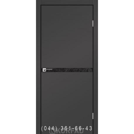 Двери GLASS LOFT PLATO GLP-12 Super PET антрацит глухое + вставка (CPL черный)