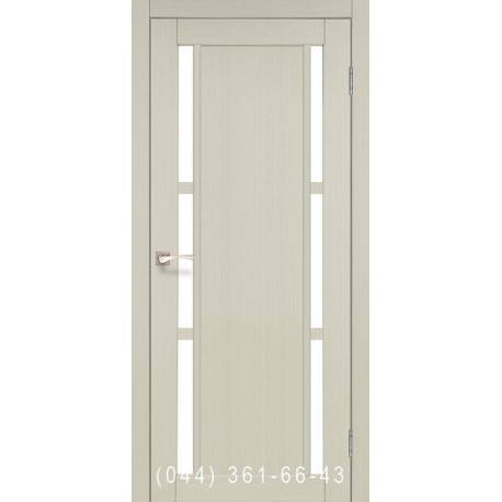 Двері КОРФАД VALENTINO VL-04 дуб білений зі склом (сатин матовий)