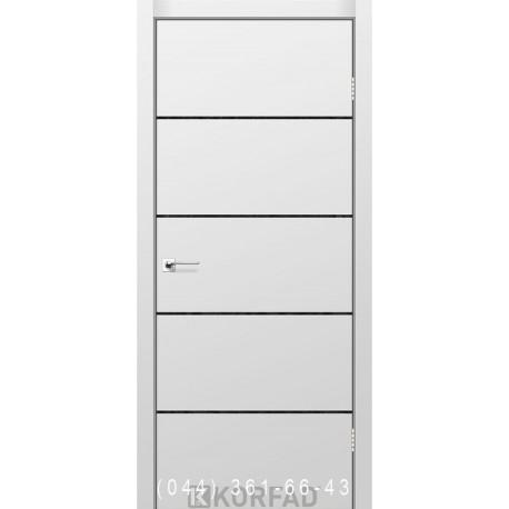 Двери GLASS LOFT PLATO GLP-14 Super PET серый глухое + вставка (CPL черный)
