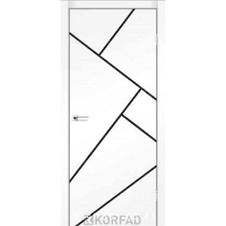 Двери GLASS LOFT PLATO GLP-15 Super PET аляска глухое + вставка (CPL черный)