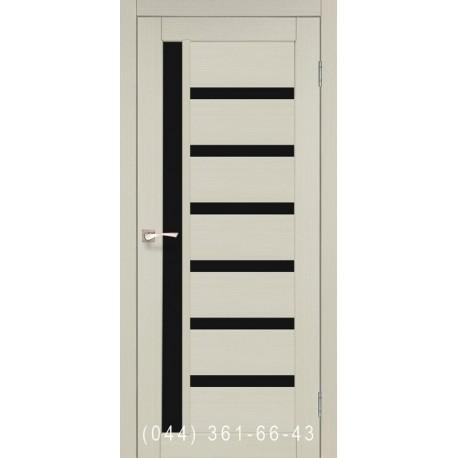Двері КОРФАД VALENTINO DELUXE VLD-01 дуб білений зі склом (чорне)