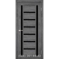 Двери КОРФАД VALENTINO DELUXE VLD-02 дуб марсала со стеклом (черное)