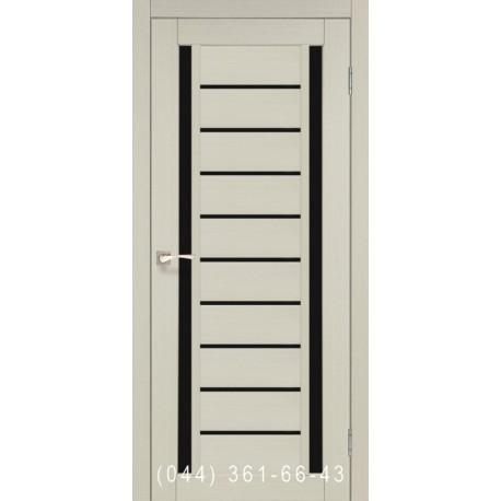 Двери КОРФАД VALENTINO DELUXE VLD-03 дуб беленый со стеклом (черное)