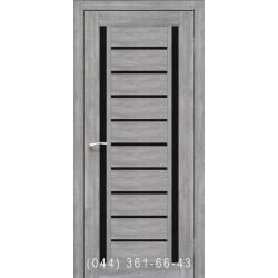 Двери КОРФАД VALENTINO DELUXE VLD-03 эш-вайт со стеклом (черное)