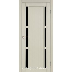 Двери КОРФАД VALENTINO DELUXE VLD-04 дуб беленый со стеклом (черное)