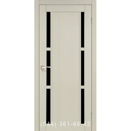 Двері КОРФАД VALENTINO DELUXE VLD-04 дуб білений зі склом (чорне)