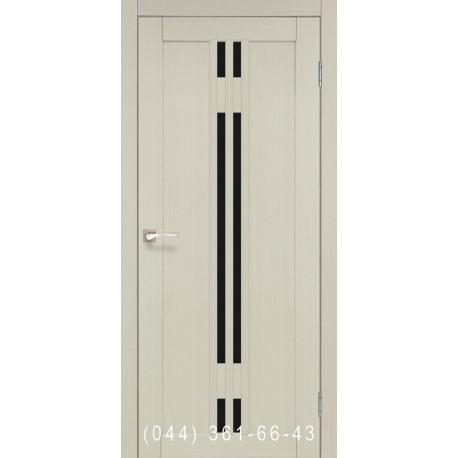 Двері КОРФАД VALENTINO DELUXE VLD-05 дуб білений зі склом (чорне)