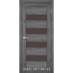 Двері КОРФАД PIANO DELUXE PND-02 еш-вайт зі склом (чорне)