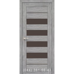 Двері КОРФАД PIANO DELUXE PND-03 еш-вайт зі склом (чорне)