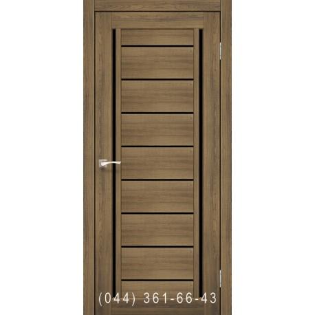 Двери КОРФАД VENECIA DELUXE VND-01 дуб браш со стеклом (черное)