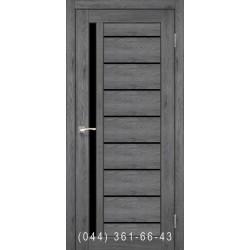 Двери КОРФАД VENECIA DELUXE VND-02 дуб марсала со стеклом (черное)