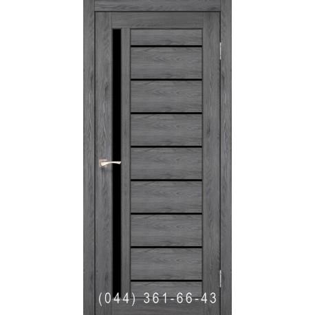 Двері КОРФАД VENECIA DELUXE VND-02 дуб марсала зі склом (чорне)