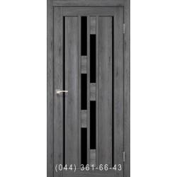 Двери КОРФАД VENECIA DELUXE VND-05 дуб марсала со стеклом (черное)