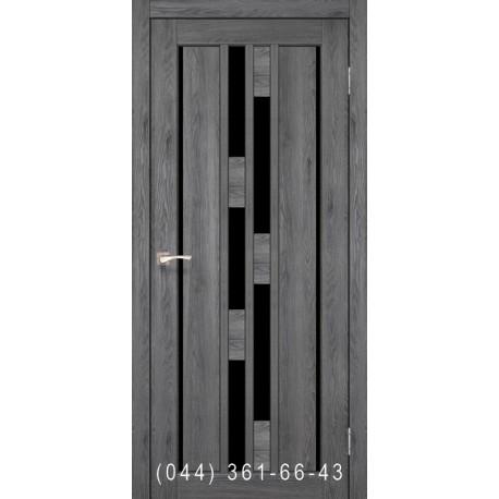 Двері КОРФАД VENECIA DELUXE VND-05 дуб марсала зі склом (чорне)